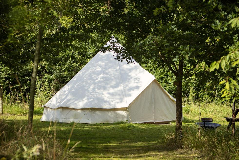 bell tent exterior woodland escape CGH P
