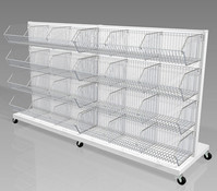 Mobile Cart with Wire Bins