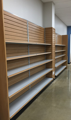 Woodgrain Slot Wall and Adjustable Shelves