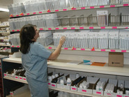 Blister Pack Shelving with Wire Fencing