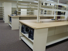 Pass Thru with Adjustable Tiltable Shelving and Wire Fencing