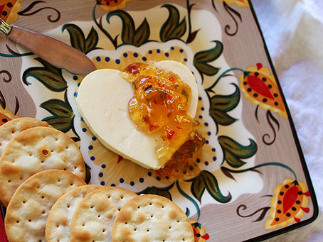 Jalapeño Jelly over Cream Cheese for your Valentine