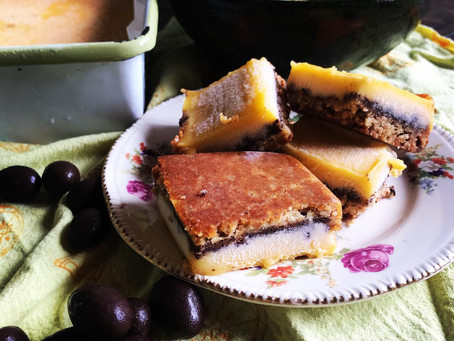 Limoncello Lemon Bars with a Chocolate Almond Crunch layer
