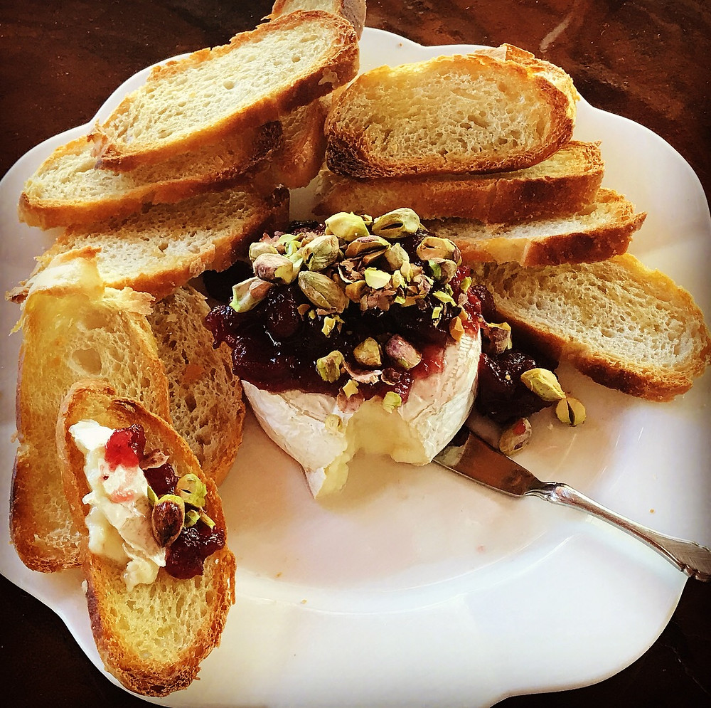 Brie with Cranberries and Pistachios