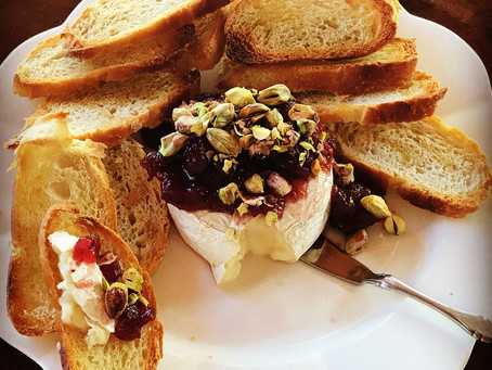 Brie with Cranberries and Pistachios on Sourdough Crostini