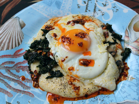 Fried Egg on Polenta with Kale and Mushrooms