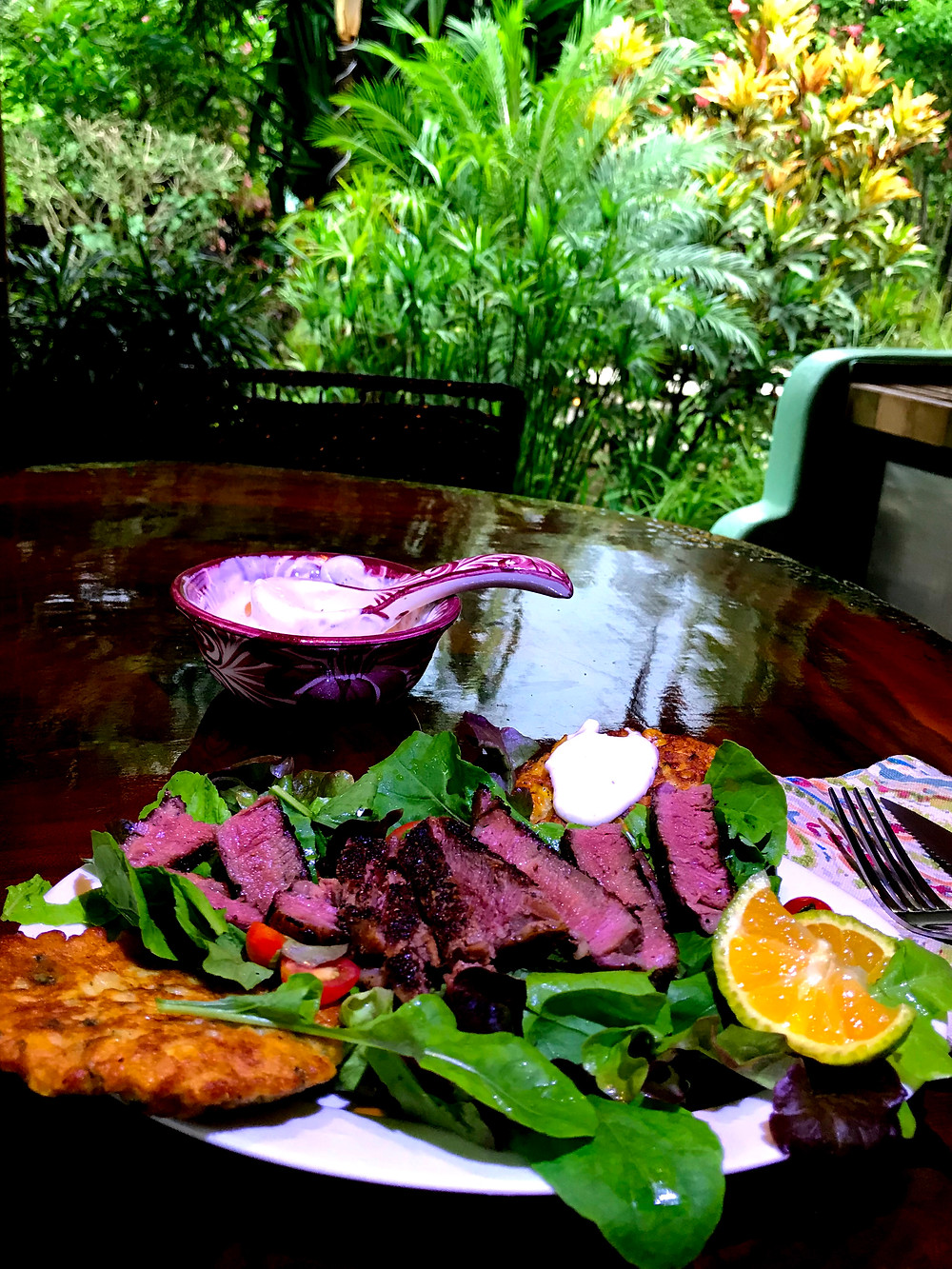 Steak salad with Jalapeño Corn Cakes