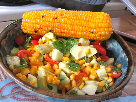 Corn, Avocado, Cucumber, Basil Salad