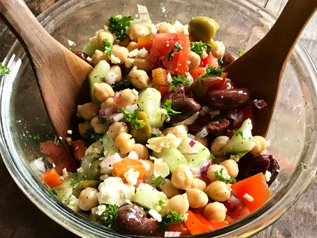 Fast and Easy Garbanzo Bean Salad with Kalamata Olives and more.