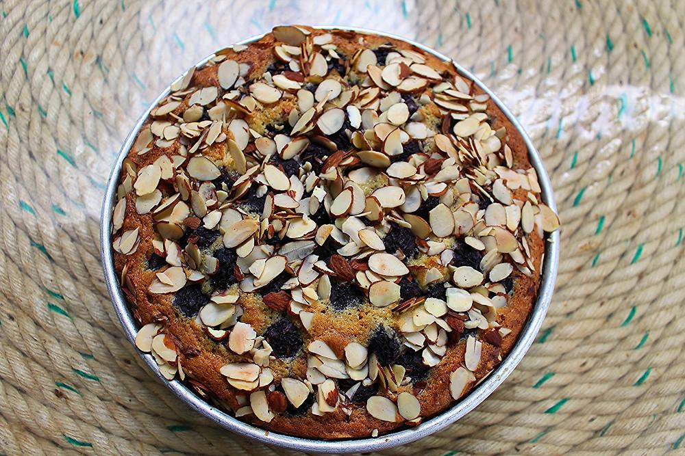 Sour Cream Almond and Black Cherry Cake