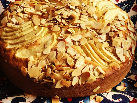 Apples and Almonds Make this Cake so good.