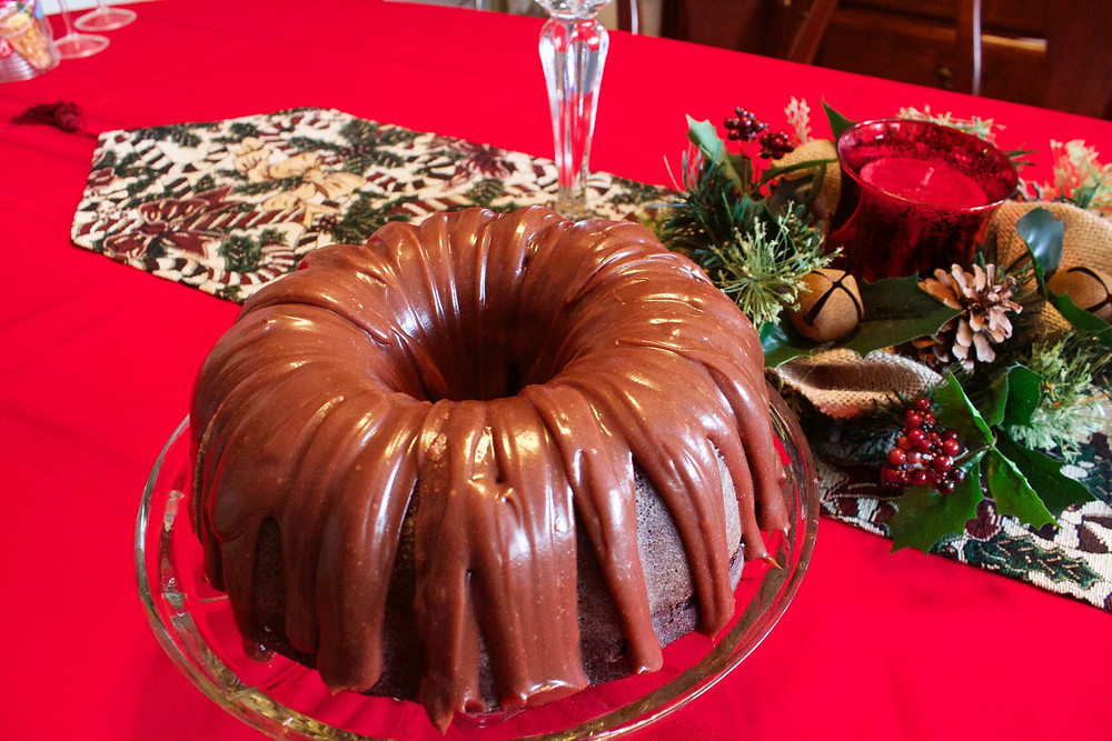 Chocolate Bunt Cake with Sourcream glaze.