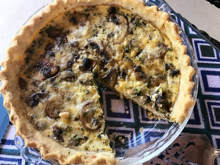 Meatless Monday Quiche, jalapeño crust with broccoli and mushroom and pepper jack cheese