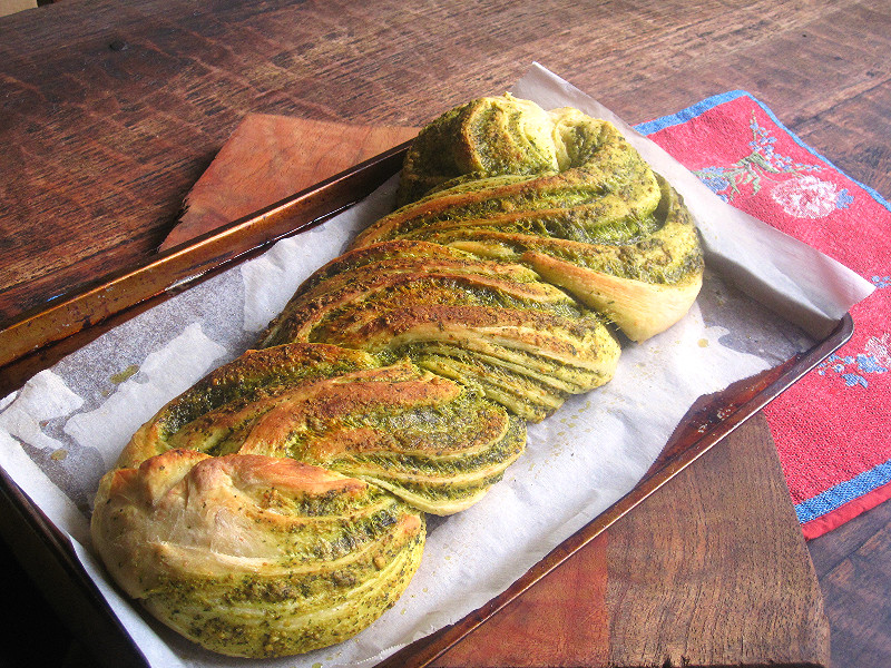 Pesto Bread all rolled up