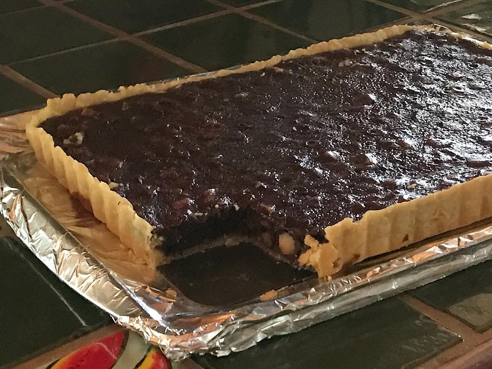 Salted Macadamia and Pecan Chocolate Tart