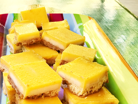 Frozen Lemon Curd with Roasted Macadamia Nut Shortbread Crust, Lemon Bars