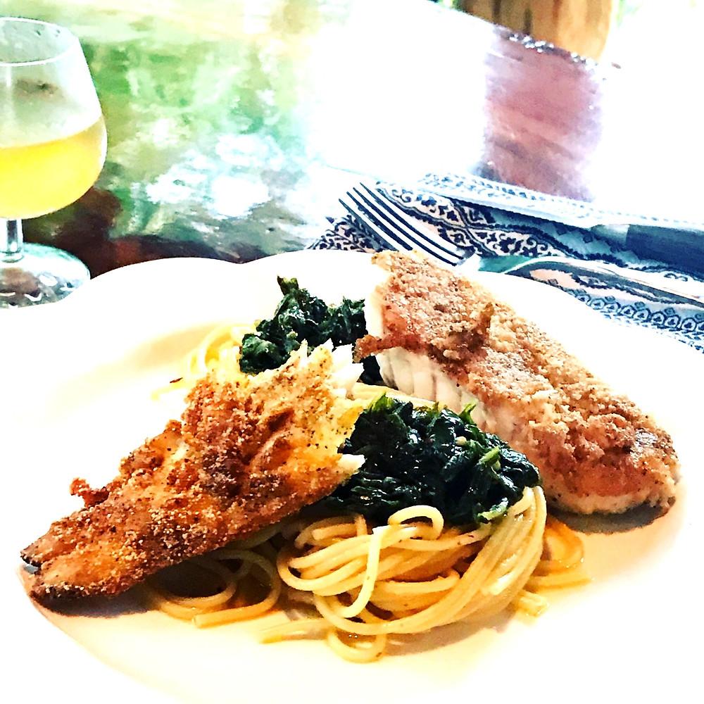 fish mustard green and pasta