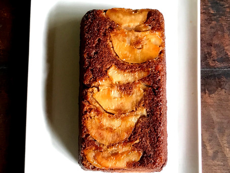 Pear and Apple upside down loaf cake