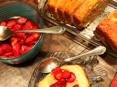 Strawberry Yogurt Pound Cake with Strawberries on Top
