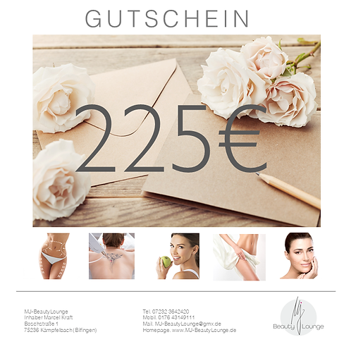 Online Wertgutschein 225,- Euro