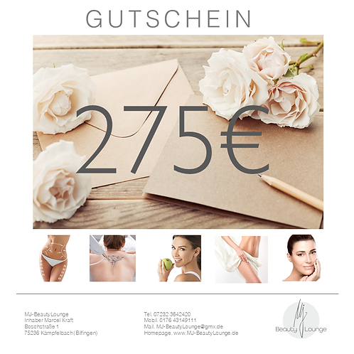 Online Wertgutschein 275,- Euro