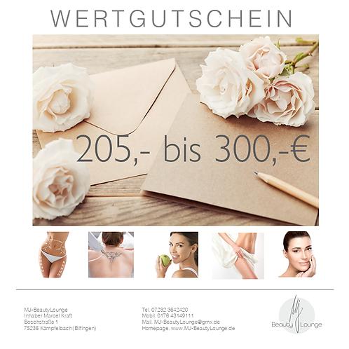 Wertgutschein 205,- bis 300,- Euro