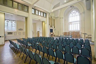 Our largest space for 220 guests with striking stained glass window and oak wood work.