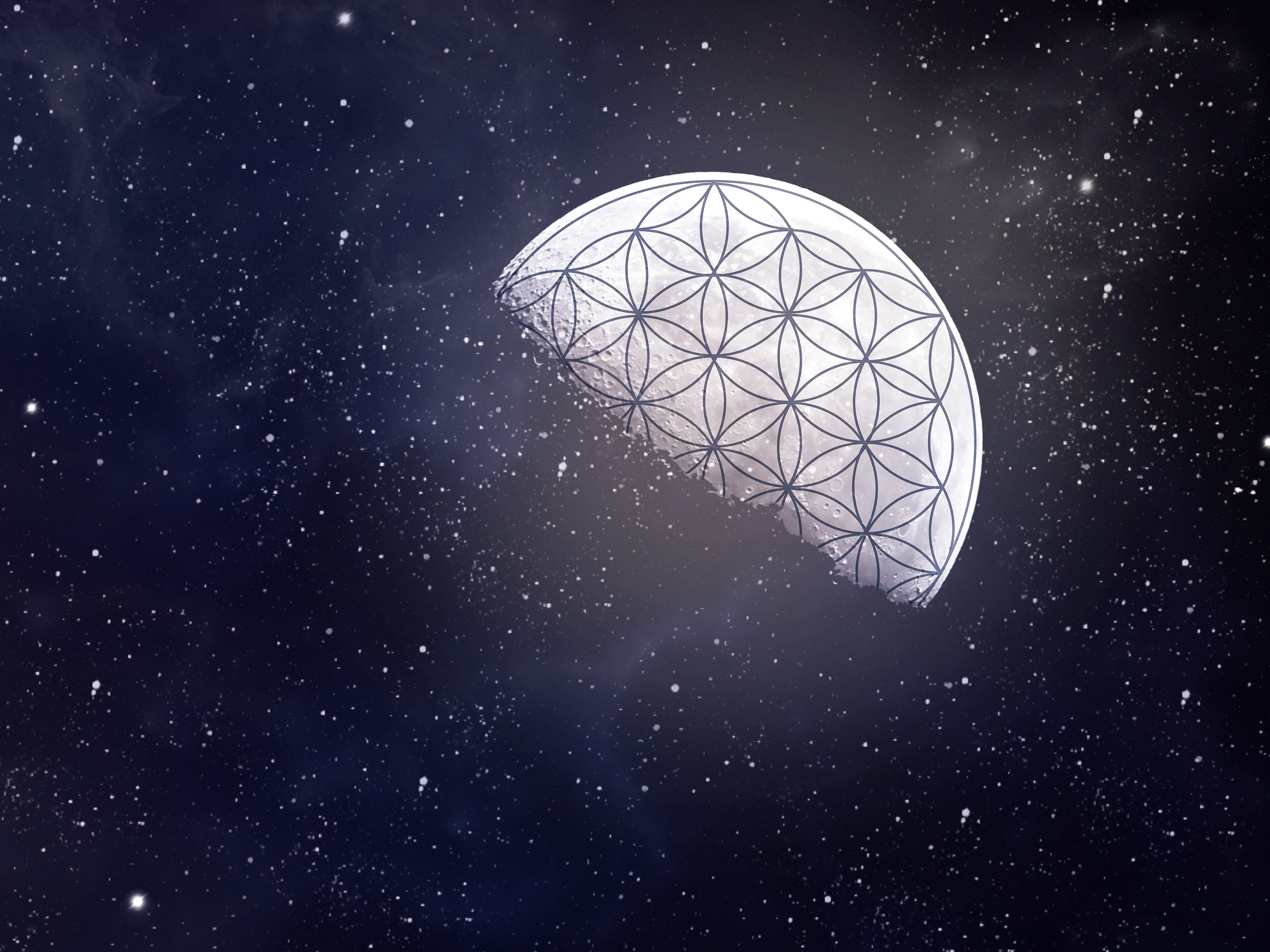 Flower of life with moon and night sky