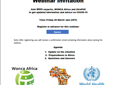 WHO-WONCA Africa-AfroPHC Webinar on COVID-19 20th March 2020