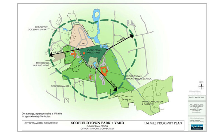 One quarter mile plan, depicting amenities connections to Scofieldtown Park + Yard