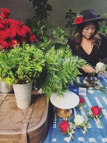 Our fresh flower crown & boutonnière ba