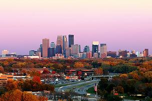 Minneapolis Skyline during Autumn at Sun