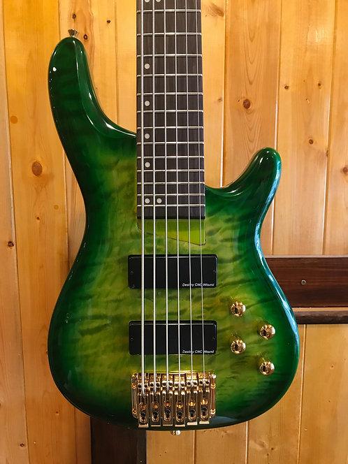 AIO Wolf KTB-6 6 String Bass Green Burst