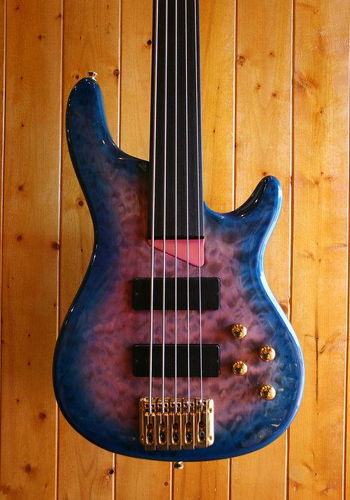 AIO Wolf KTB-5 5 String Fretless Bass - Blue Burst