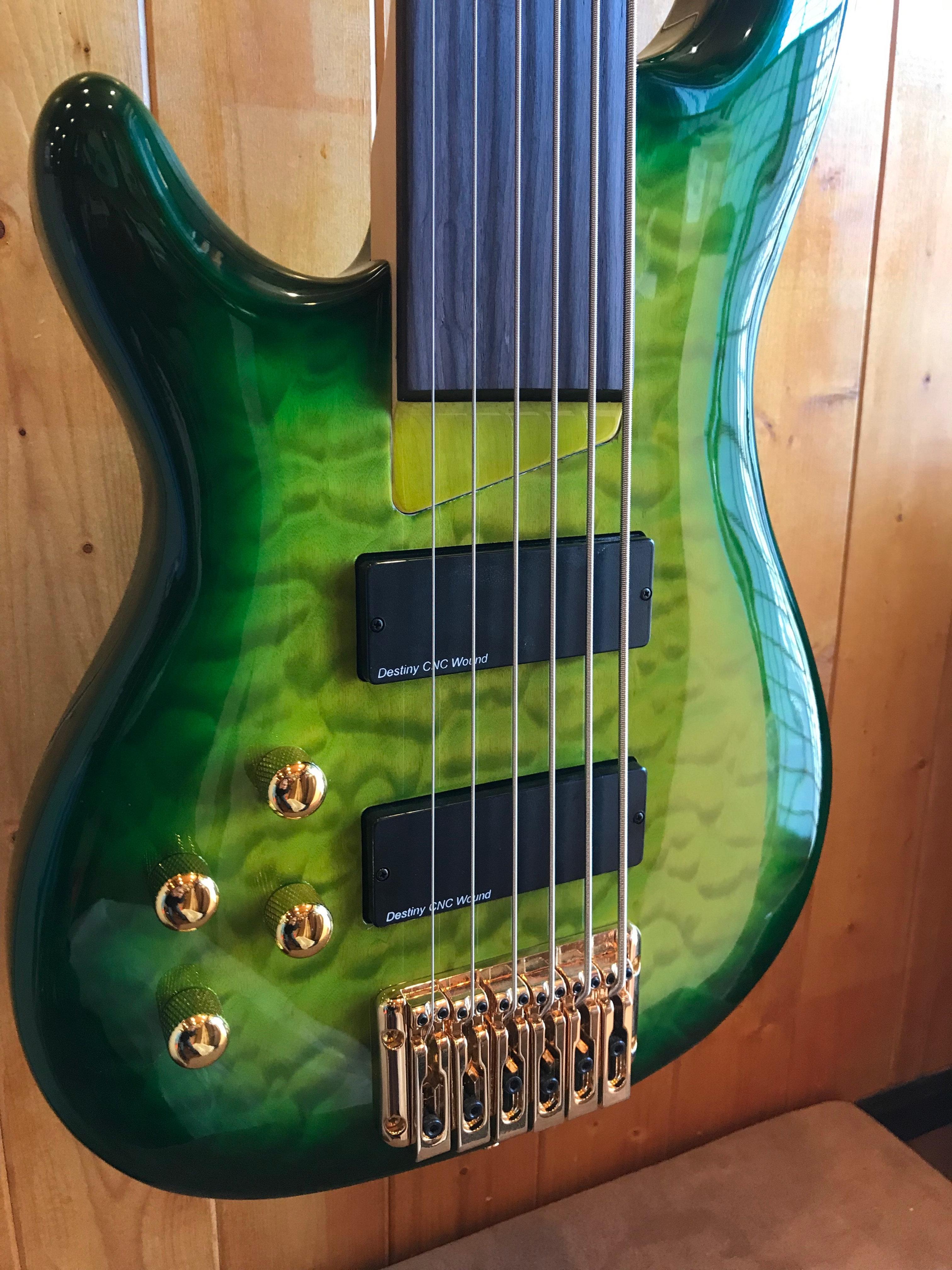Wolf KTB-6 6 String Fretless Bass (Left Handed) Green Burst   allinoneguitar
