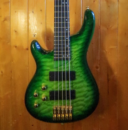 AIO Wolf KTB-5 5 String Left-Handed Bass - Green Burst