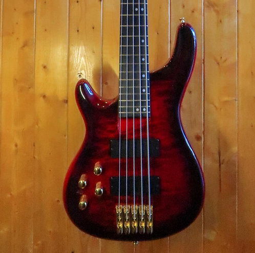 AIO Wolf KTB-5 5 String Left-Handed Bass - Red Burst