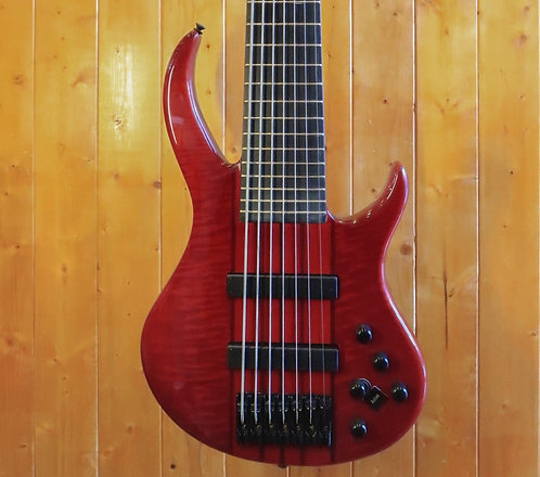 AIO Wolf S11-7 7 String Bass Guitar - Trans Red w/gig bag