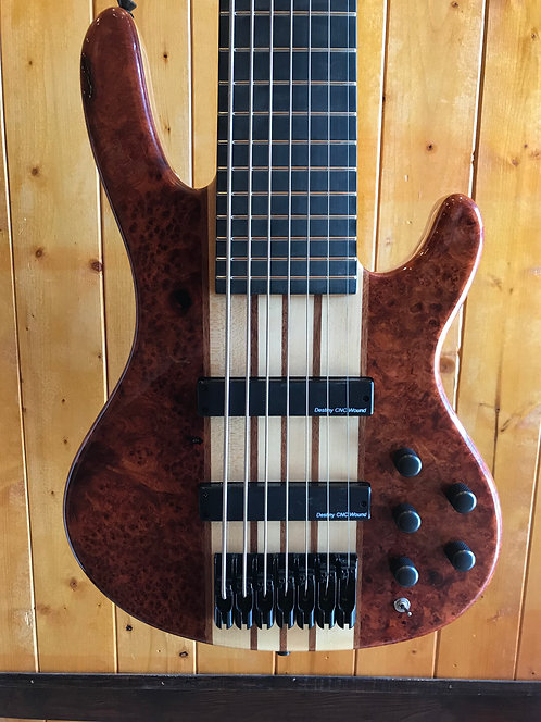 AIO Wolf S9-7 7 String Bass Quilted Bubinga w/SKB Hard Foam Case