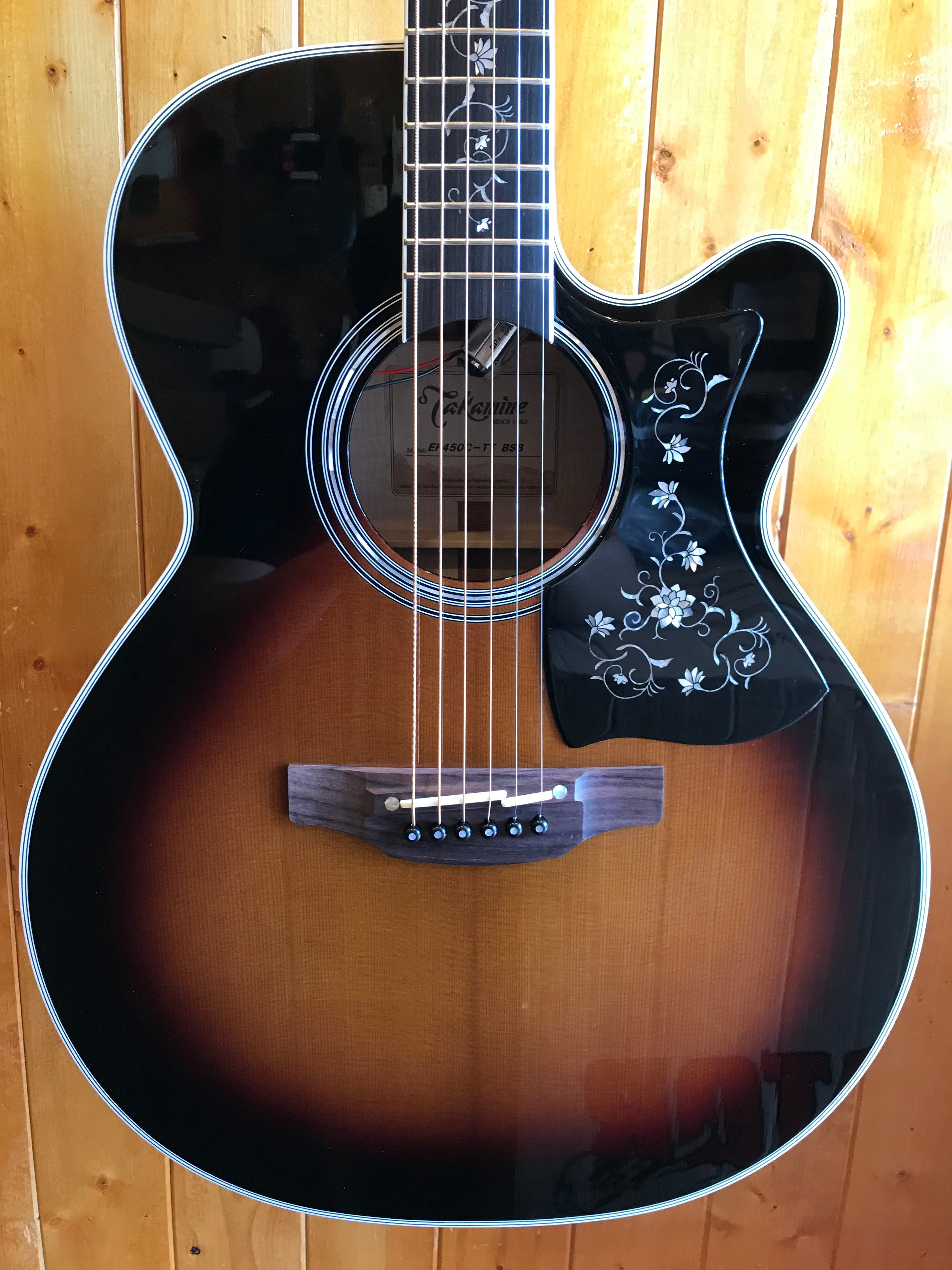 Takamine EF450C Thermal Top Acoustic-Electric Guitar - Brown Sunburst w/OHC  | allinoneguitar