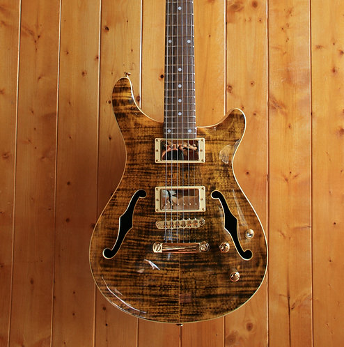AIO Wolf KLP 45FM 2020 Semi Hollow Electric Guitar - Tiger Amber (no case)