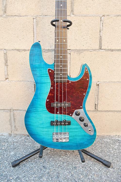 AIO JB 4 String Bass - Blue Burst w/gig bag