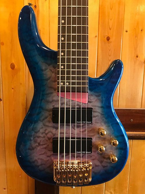 Wolf KTB-6 6 String Bass Blue Burst