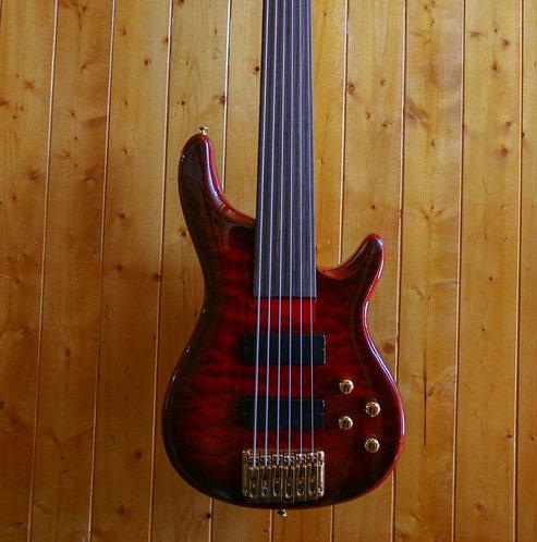 AIO Wolf KTB-6 6 String Fretless Bass - Red Burst