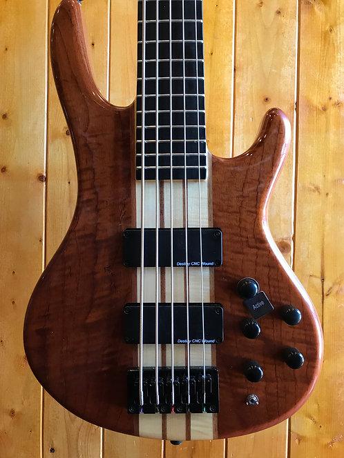 Wolf S9-5 5 String Bass Guitar Flame Bubinga Top