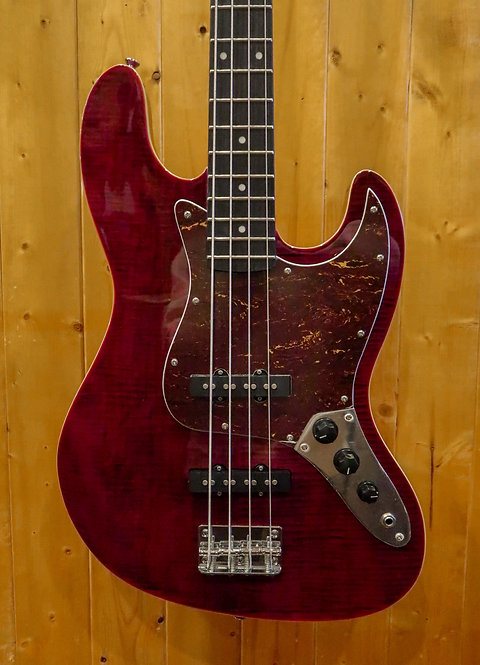 AIO JB4 4 String Bass- Red w/SKB Shaped Case