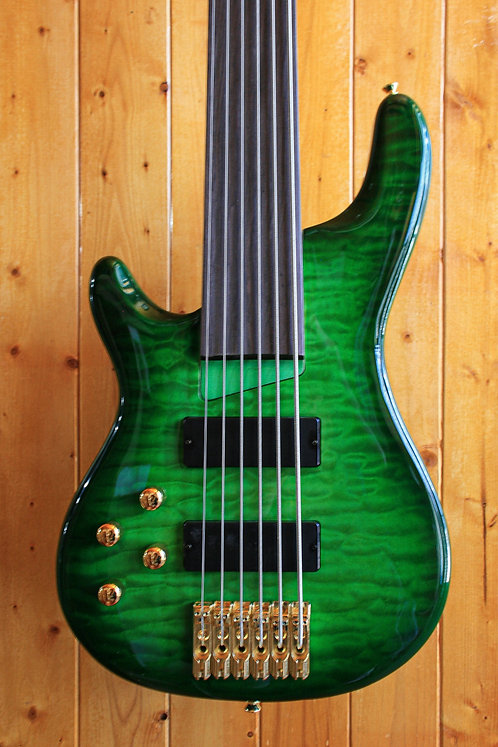 AIO Wolf KTB-6 6 String *Fretless *Left-Handed Bass - Green Burst