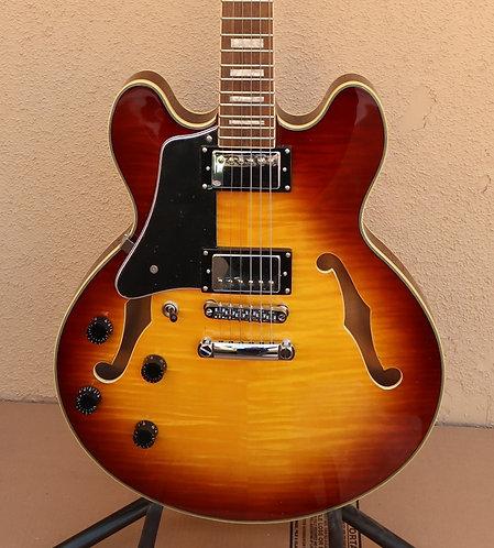 Wolf 2020 KSA50 Semi-Hollow Guitar (Left Handed) - Tobacco Sunburst (no case)