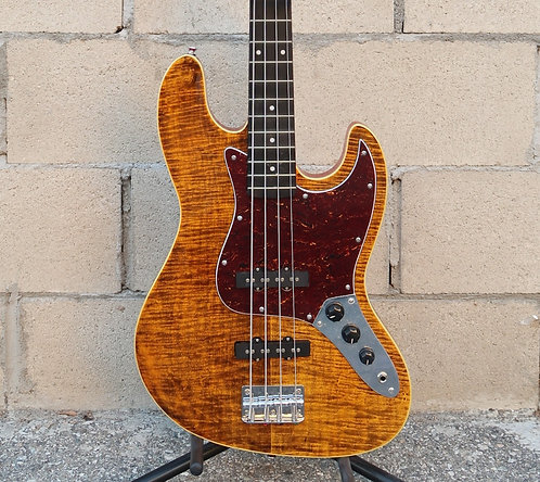 AIO JB 4 4 String Bass - Tiger Amber w/gig bag
