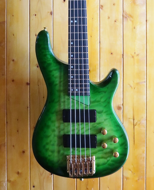 AIO Wolf KTB-5 5 String Bass - Green Burst